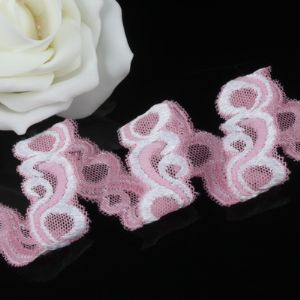 Ribbon, Polyester, pink, white, 1m x 1.8cm, (sd242)